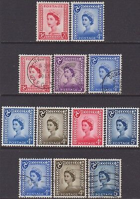 12 Different GB QEII 1958-1969 Isle of Man Regional 2.1/2d-5d MNH & Used Stamps