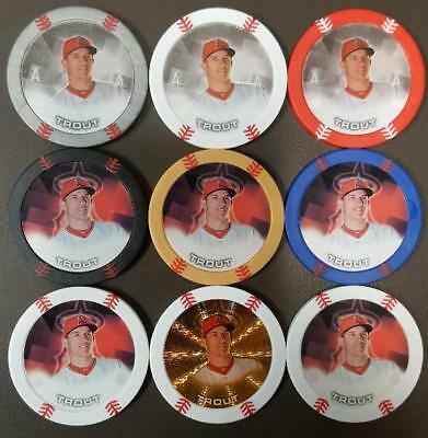 9 Mike Trout 2014 Topps Chipz Gold/silver Glow/red Glow/black/foil+++! Free Ship