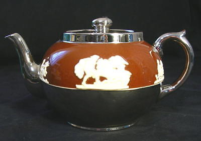 GIBSONS Staffordshire England TEAPOT Cream on Brown SILVER Accents MINTY!