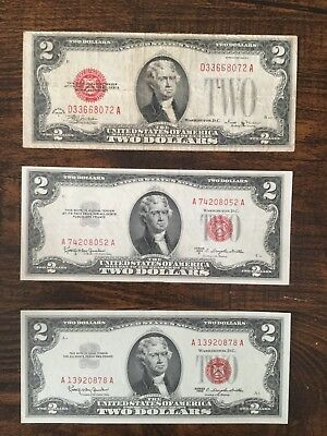 Usa Banknotes.3 Two Dollar Red Seals ..1928-1953-1963..