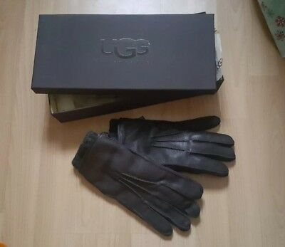 Ladies Ugg Leather 2 in 1 Whipstich Gloves Size L New in Box