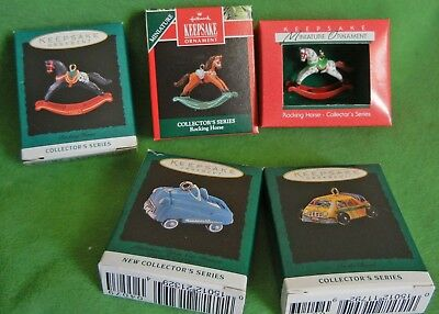 Hallmark miniature ornaments, rocking horse, cars, lot of 5, series