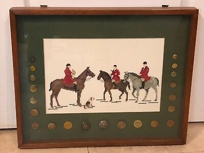 Rare 21 Victorian Fox Hunting Buttons With Needlepoint Hunt Scene Framed Display