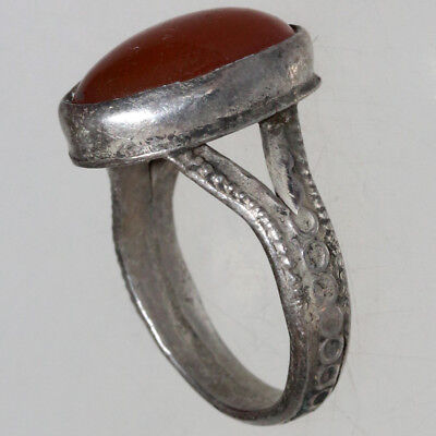 Intact-Near East Medieval Silver Decorated Ring With Carnelian Stone-Wearable
