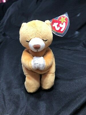 17a2b01027a HOPE PRAYING BEAR TY Beanie Baby with Tag Errors 1998 1999 Rare ...