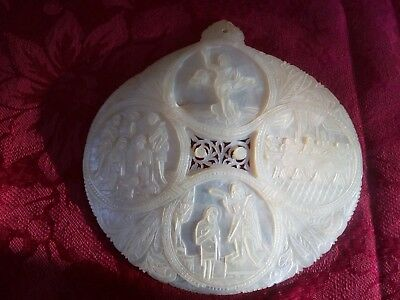 ANTIQUE LARGE MOTHER OF PEARL HAND CARVED SHELL, NATIVITY SCENE, ASCENSION etc