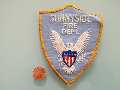 Vintage SUNNYSIDE Fire Dept. PATCH used RARE sew Unknown AZ ? WA ? TN ? NY ? CA