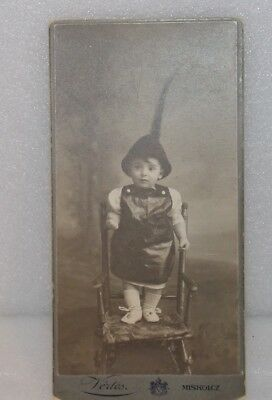 """Antique HUNGARIAN VERTES CABINET PHOTO CARD Adorable Toddler B&W 6"""" x 3"""" Sweet"""