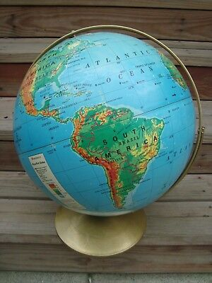 Vintage Rand Mcnally Primary Political 16-inch Raised Relief World Globe