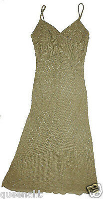 SELIA YANG Beaded GOLD SILK cocktail Couture Sheath evening dress PARTY $585 S 2