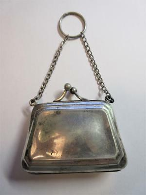 VINTAGE ART DECO SILVER PLATED EVENING PURSE with  FINGER RING c1920's!