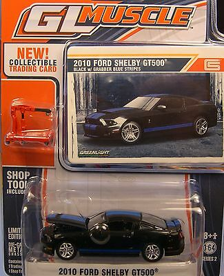 Black 2010 Ford Shelby Gt500 Mustang Greenlight 1:64 Scale Diecast Metal Car