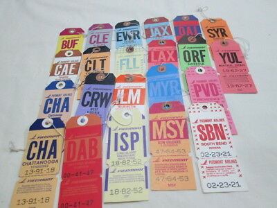Piedmont Airlines Bag Tags 22 different Airports New/Old Stock
