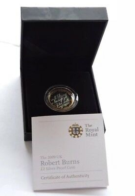 Royal Mint 2009 Silver Proof £2 Robert Burns Cased With COA