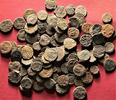 Lot of 100 Ancient Roman Bronze Fragment Coins, AE3, AE4 #4