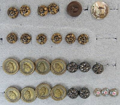 Large Lot Antique Clothing Buttons Enamel, Mirrored, Scenics  No Reserve