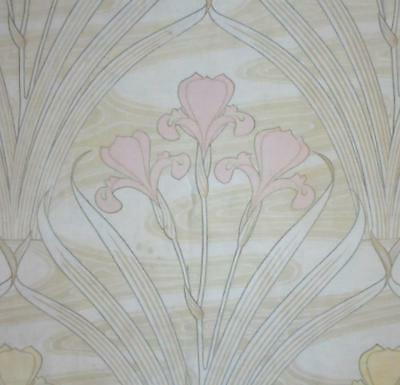 BEAUTIFUL ANTIQUE FRENCH ART NOUVEAU LINEN & COTTON IRISES c1900  140.