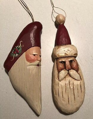 2 Carved Wood Santa Claus Primitive Folk Art Ornament