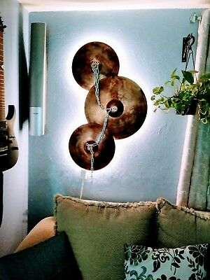 Chained Cymbals with color changing back lighting, 3D Wall Decor, Original Art