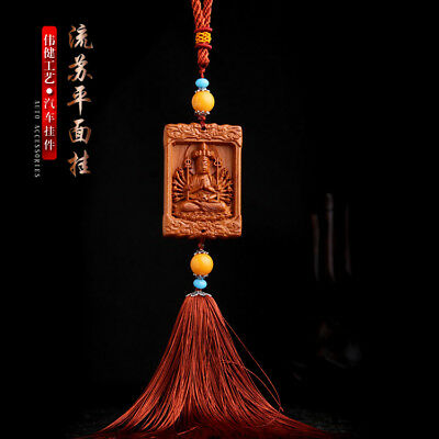 Chinese Ancient Thousands Hands Kwan Yin Wood Carving Amber Bead Car Pendant