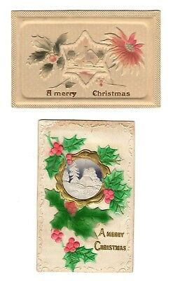 Pair Antique 6 Pointed Star Holly Heavy Embossed Airbrushed Christmas Postcards