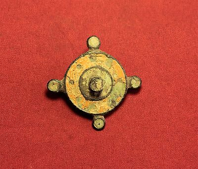 Ancient Roman Enamelled Disc Fibula or Brooch, 2. Century