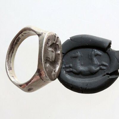 Massive-Ancient Greek Silver Seal Ring Circa 150-100 Bc