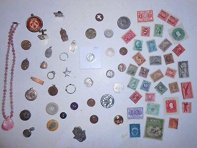 JUNK DRAWER LOT...OLD Jewelry, U.S.A.Coins 1939 Mercury Dime, Stamps, 1906, 925