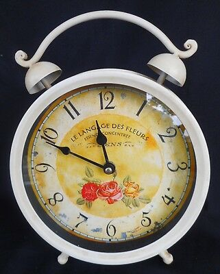 """Shabby Chic Clock """"le Langage Des Fleurs"""" -Free Standing Or Wall Hang"""