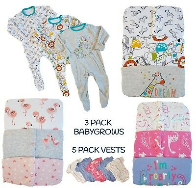 Baby Girls Boys Babygrow Sleepsuits  3 Pack Cotton Playsuit Vests Bodysuit NEW