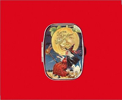 Witch Vintage Halloween Moon Metal Pill Mint Box Case