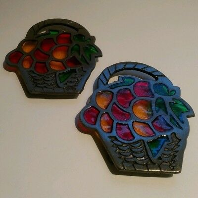 Vintage Pair of Metal and Stained Glass Look Basket With Fruit Trivets