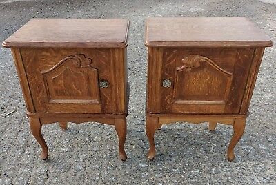 Super Pair Vintage Oak French Louis XV Bedside Cabinets - Just Back from France