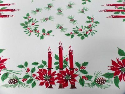 Vintage Christmas Poinsettia Tablecloth 65 x66 ~ EXCELLENT Red Green Candles