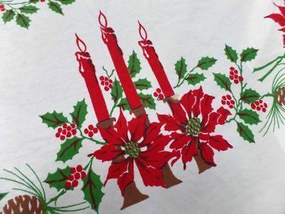 Vintage Christmas Poinsettia Tablecloth 47 x 53 Red Green