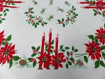 Vintage Christmas Print Poinsettia Tablecloth 58 x 71 Large Cotton Red Green