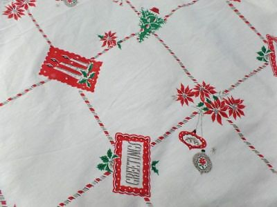 True Vintage Christmas Print Greetings Tablecloth 49 x 54 Green Red