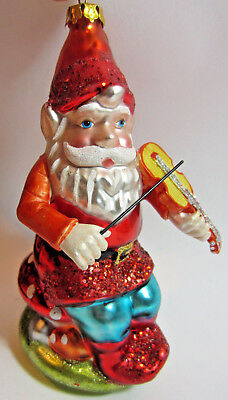 """Blown Glass Christmas Ornament ELF PLAYING FIDDLE SITTING ON TOADSTOOL 5"""" NEW"""