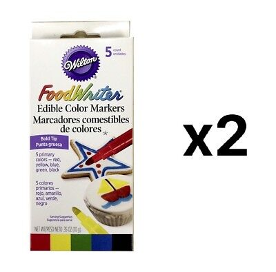 Wilton Food Writer 5qty Bold Tip Edible Color Markers Cake Decorating (2-Pack)