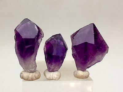 Amethyst Quartz Crystal Point Mineral Specimen URUGUAY w/ Display Case & ID Card