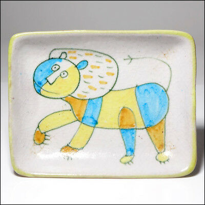Guido Gambone Italian Art Pottery Mid-Century Modern Ceramic Lion Cat Dish Tray