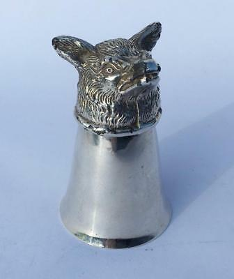 Antique / Vintage Silver Plated Fox Head Stirrup Cup