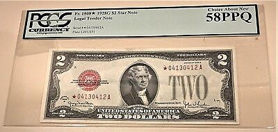 $2 1928 G Legal Tender Star Note Pcgs 58Ppq Choice About New- Fr # 1508*-Rare