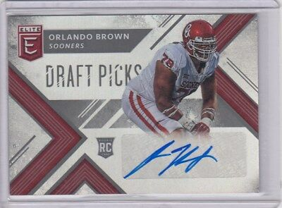 2018 Panini Elite Draft Orlando Brown Rc Autograph Baltimore Ravens