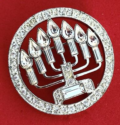Vintage Silver Brooch Rhinestones Menorah Pin Estate Antique Hanukkah Christmas