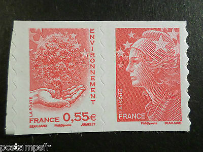 FRANCE 2008, PAIRE timbre 175 et 177 MARIANNE BEAUJARD neuf**, AUTOADHESIF, MNH