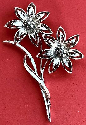 Vintage Silver Flower Brooch Daisy Bouquet Pin Estate Sale Find Antique Jewelry