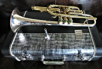 VINTAGE KING SILVER SONIC CORNET 1960's SOLID STERLING SILVER BELL EXCELLENT!