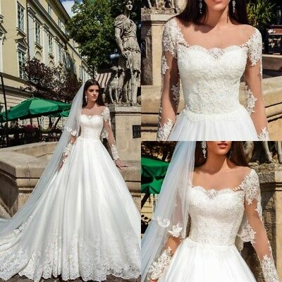 White Ivory Wedding Dresses Long Sleeves Appliques A Line Size 0 4 8 12 16 18 20