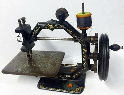 Early Original Cast Iron A F Johnson Gold Metal Octagonal Toy Sewing Machine  Nr